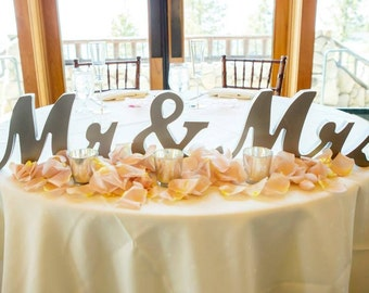 Metallic or Custom Mr and Mrs Sign Wedding Sweetheart Table Decor Mr & Mrs Wooden Letter Large Thick Mr and Mrs Wedding Sign (Item - MTS100)