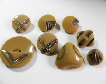 Vintage Caramel Glass Button Art Deco Assortment