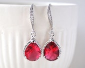 Bridesmaid Ruby Pink Drop Earrings Fuchsia Hot Pink in Rhinestone Bridesmaid Gift Set of 1 2 3 4 5 6 7 8 910 11 12