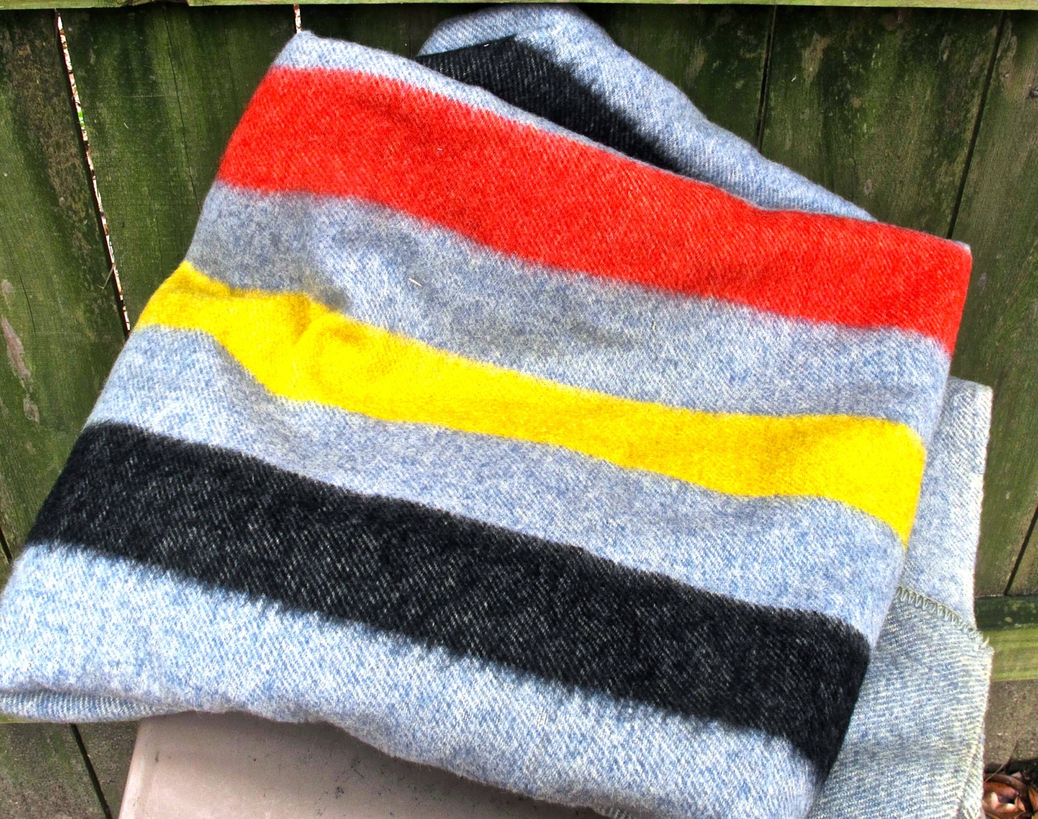 Vintage Wool Blanket 1960s Striped Pendleton