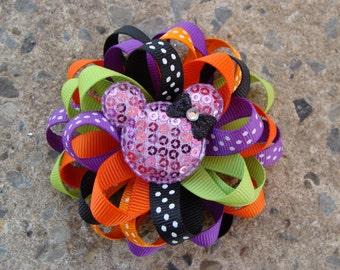 Halloween Minnie Mouse Hair Bow purple black green orange Halloween hair bow Disney Halloween Hair Bow round hair bow loopy hair bow