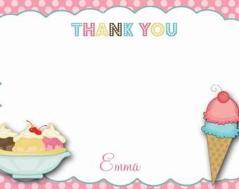 Ice cream  Birthday Party Thank you note --  ice cream birthday party thank you note -  you print or I print