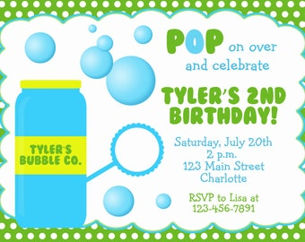 Bubbles  Birthday Party Invitation --  blowing bubbles party invitation -- you print or i print
