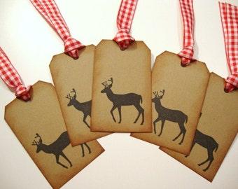 Deer Gift Tags Buck Stag Woodland Forest Animal Rustic Christmas Brown Kraft Tag