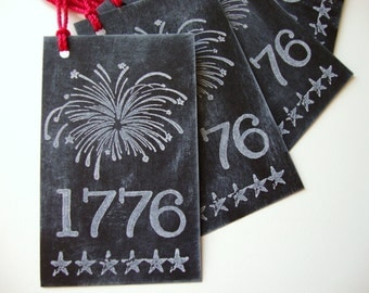 1776 Tags Chalkboard Style July 4th Independence Day