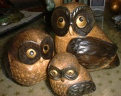 Mid Century Modern Family of OWLS 1960s Made in Japan Ceramic Group of 3