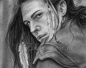 The Journey Feather Forest Girl Native Indian Spiritual Male Boy Emo Art Print Glossy Zindy Nielsen