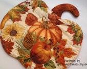 Harvest Pumpkin Reversible Candle Mat, October, November, Fall, Autumn, Table Topper, Halloween, Thanksgiving, Needlecraft Holidays, Decor