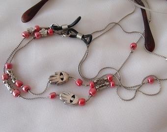 Eyeglasses Holder,Chain Necklace, HAMSA, Sunglasses Holder,Reading Glasses necklace, eyewear holder chain