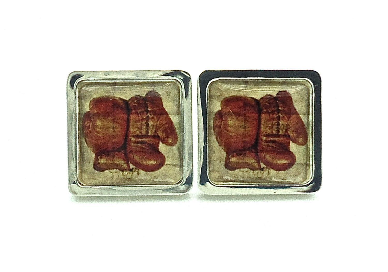 Boutons de manchettes gant de boxe retro print cadeau pour - Mettre bouton de manchette ...