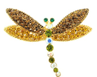 Multicolor Dragonfly Crystal Pin Brooch 1010061