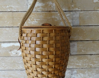 Vintage Fisherman's Basket Woven Wood Rope and Rare Find
