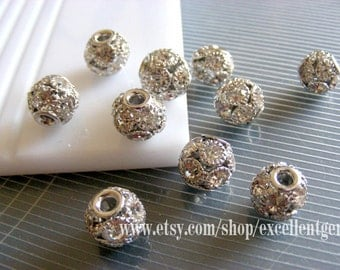 10pcs silver plated brass with Czech Crystal rhinestones beads, Connector ball, rhinestone Disco beads -10mm