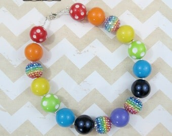 Rainbow Necklace, Toddler Chunky Necklace, Chunky Necklace, Childrens Necklace, Pearl Necklace, Photo Prop, Birthday Necklace, Gumball