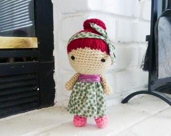 Crochet girl doll, amigurumi doll, red head doll, green dress, crochet amigurumi, crochet art doll, ready to ship, handmade, hand crochet