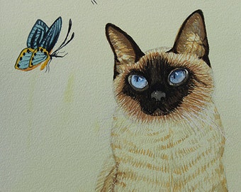 Siamese Cat 1, Butterfly, Original Watercolor Painting, Signed, Wall Art, Home Deco
