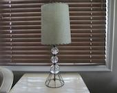 Mid Century Retro Atomic 1950's Glass Ball & Fishnet Lampshade Table Lamp