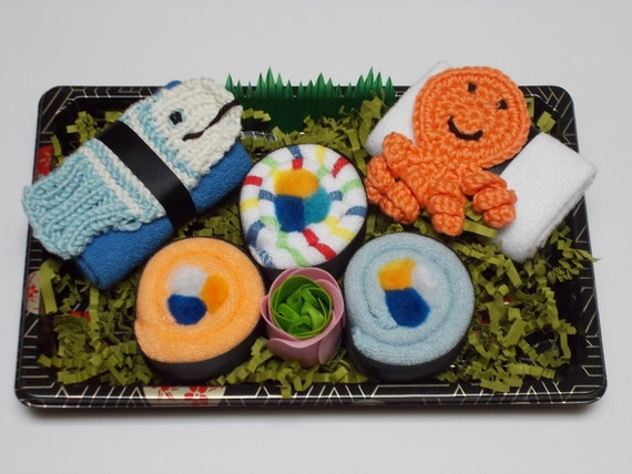 New Baby Boy Gift - Baby Washcloth Sushi Baby Shower Gift - Seafood Duo