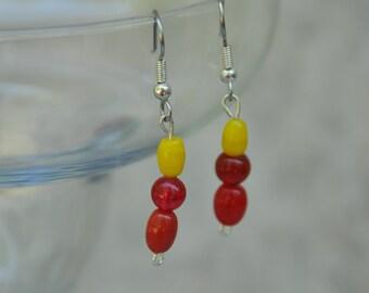 Earrings, Red, Yellow, Dangle Earrings  -