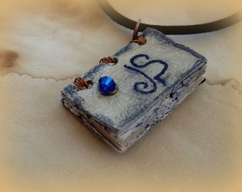 Libra Sign Zodiac  Charm Mini Book Necklace  by Dryw on Etsy