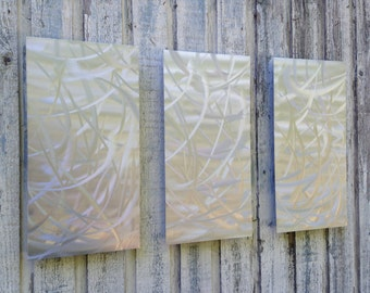 Silver Modern Metal Wall art abstract  sculpture garden art by Holly Lentz
