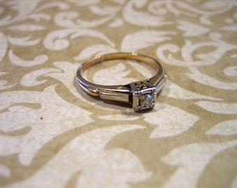 Art Deco 14K -18K Gold Diamond Engagement Wedding Band Ring