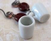 Unique coffee mug earrings coffee lover gift coffee earrings pottery coffee mug coffee cup earrings coffee bean earrings