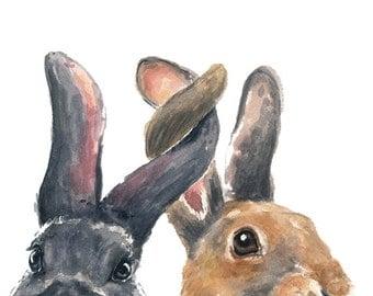 Bunny Watercolor PRINT - Rabbit Watercolor, 5x7 Print, Nursery Illustration