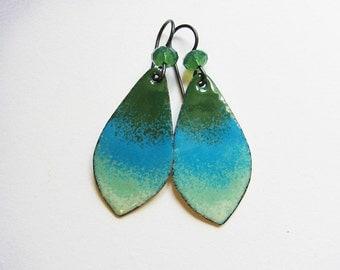 Blue and green niobium earrings Colorful enamel jewelry Hypoallergenic dangle earrings Ombre green teardrop earrings