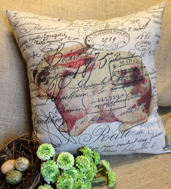 Pillow Cover French Script And Burlap Pillow Slip Black and White Rabbit by Gathered Comforts