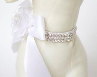 Gorgeous rhinestone and flower ribbon for wedding ring bearer Wedding Dog Collar Floral