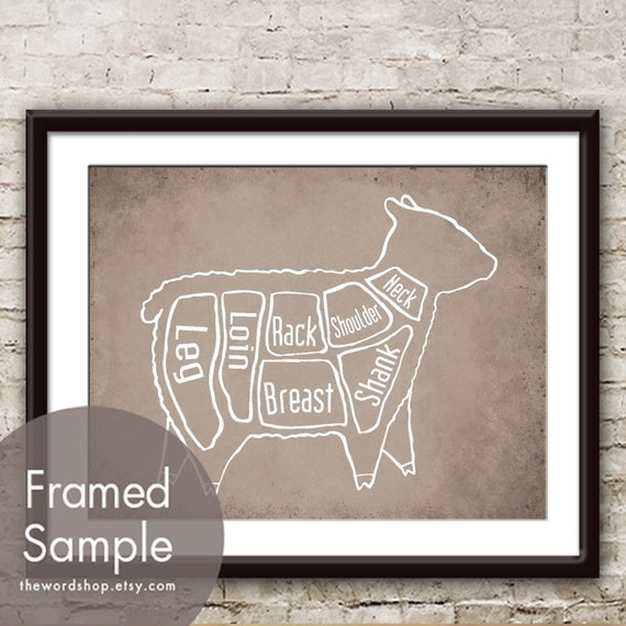 Lamb Butcher Diagram of a Sheep - Art Print (featured in Vintage Parchment) (Buy 3 and get One Free)