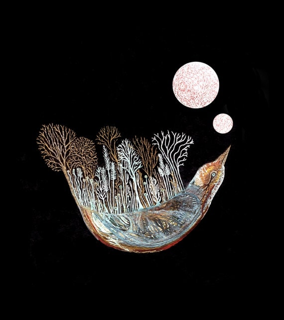 Fine Art Print-Starling explores the lunar landscape