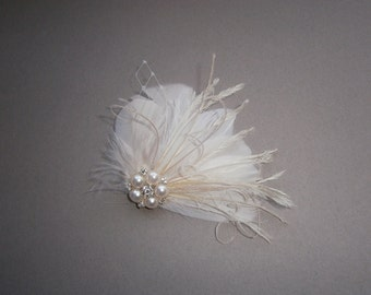 Ivory, feather, white, Weddings, hair, accessory, facinator, Bridal, Fascinators, Bride, veil - WEDDING WHISTLE