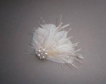 Ivory, feather, white, Weddings, hair, accessory, facinator, Bridal, Fascinators, Bride, veil - WEDDING WHISTLE