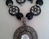 Black Silver Necklace, Black Pendant Necklace, Easter Necklace, Easter Jewelry, Easter Gift, Elegant Necklace, Easter Accessory, Easter