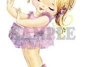 Vintage Ballerina Blonde Girl, pink tutu, digital, download, printable, greeting card image
