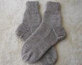 Exotic Pure CAMEL WOOL Hand Knit Socks in Tan / Diabetic Chunky Socks / Adult Knit Socks/ meaningful gift