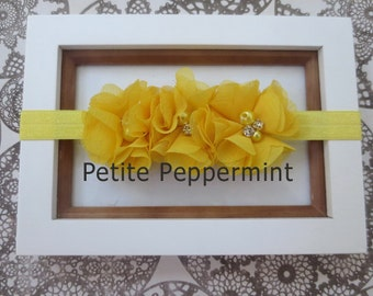 Yellow Baby Flower Headbands, baby headband, toddler headband, Yellow Baby Headband, Baby Bows, Baby Hair Bow