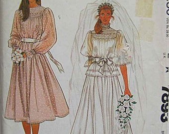 Vintage 80's Jann Johnson Misses' Wedding Gown or Bridesmaid Dress and Slip McCall's 7893 Pattern UNCUT Size 6