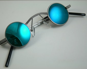 round sunglasses Steampunk sunglasses silver metal blue mirror lens Goth retro Victorian vampire Dracula unisex cosplay rock Sherlock Holmes