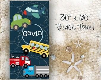 Transportation Personalized Kids Beach Towel - size 30x60, Custom Monogrammed Beach Towel, Kids Beach Towel, Personalized Beach Towels