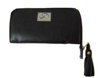 SALE Black Faux Leather Zipper Wallet. Woman Clutch / Wallet. Handmade Accordion Wallet. Zipper Shira Wallet.
