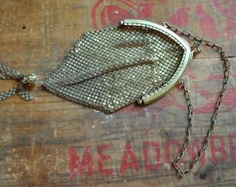 SALE~Chainmaille Mesh: Flapper Wristlet Gold Armor Framed Evening Bag- 1920s