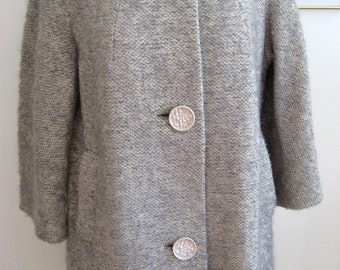 60s Coat / Silver Grey and Ivory Curly Wool Coat with BIG Buttons / Classic A Line Style / MOD Wool Overcoat