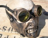 2 pc. set of GOLD Brass Distressed-Look Hannibal Lecter Steampunk Dust Riding MASK with Matching GOGGLES - A Burning Man Must Have