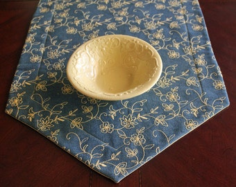 Table Runner, Casual/Elegant Denim Decorator Fabric, Yellow Embroidered Flowers/Leaves, Reverses to Yellow Kona Fabric, Heat/Damp Protection
