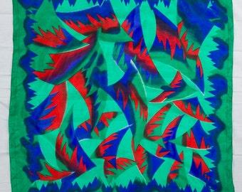 Vintage Border Print Jewel Tone Scarf Reds, Blue/Purple and Greens, Geometric Design