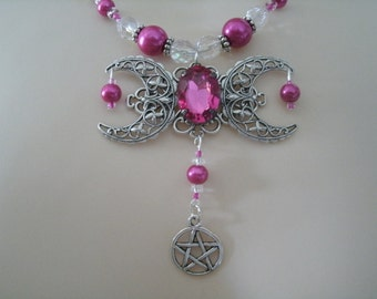 Triple Moon Goddess Necklace, wiccan jewelry pagan jewelry wicca jewelry goddess jewelry witch witchcraft pentagram pentacle wiccan necklace