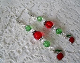 Cherry Earrings, rockabilly jewelry pin up jewelry gypsy boho hippie hipster bohemian pin up girl earrings
